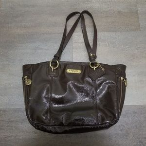 Coach Gallery Mahogany Brown Patent Leather